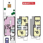 ※新築参考プラン:2599万円(建築面積88.96㎡・3LDK)土地1000万+建物価格1,599万