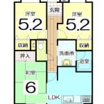 6階建ての5階部分★開放感感じるR型天井(間取)