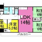 ☆5階部分の4LDK(人気の角部屋!L字バルコニー)(間取)