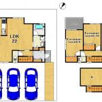 ☆1BOX3台駐車可能☆固定階段3階収納あり(間取)