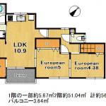 ★201号室の床はカーペット仕様(間取)